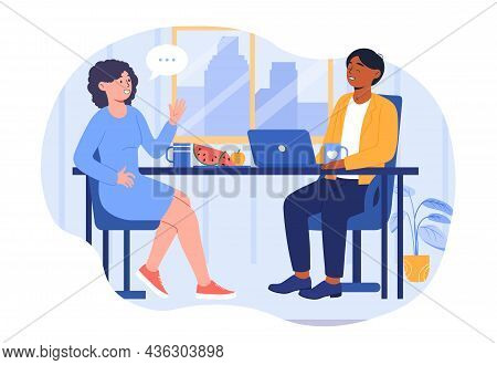 Lunch In Office Concept. Man And Woman Sitting At Table, Discussing Plan And Eating Fruit. Employees
