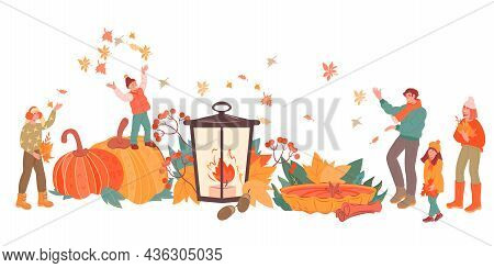 Happy Family With Kids Greeting Autumn At Backdrop Of Huge Seasonal Food And Pumpkins With Yellow Au