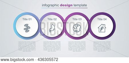 Set Line Hemoglobin, Human Stomach, Earth Globe And Eco Friendly House. Business Infographic Templat