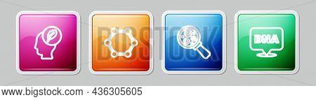 Set Line Human Head With Leaf Inside, Molecule, Microorganisms Under Magnifier And Dna Symbol. Color