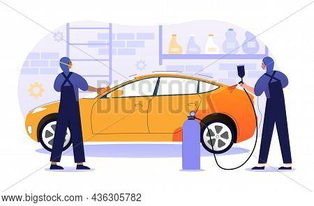 Car Paint Repair Service Concept. Men Update Color Of Vehicle. Employee Holds Paint Sprayer. Profess