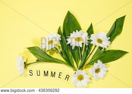 Text Summer From Letters And Field Chamomiles Flowers On Yellow Background. Greeting Card Flat Lay C