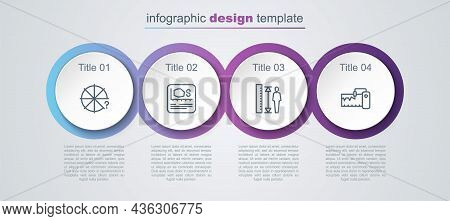 Set Line Circle Of Pieces, Area Measurement, Measuring Height Body And Instrument. Business Infograp