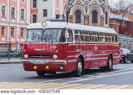 Saint Petersburg, Russia - October 05, 2021: Touristic Bus Ikarus Lux In The Historical City Center