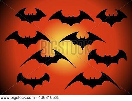 Vector Set Of Different Halloween Bats. Halloween Flying Bats. Vampire Vector Bat. Dark Silhouette O