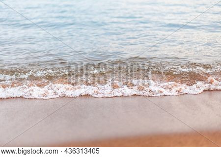Close-up Of Water Ripples And Sandy Beach In Summer At Skaha Lake, Okanagan Valley
