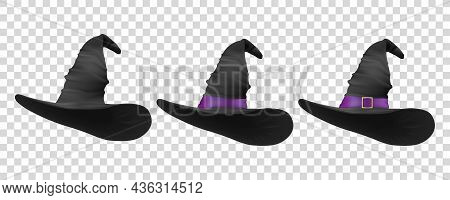 Three Black Hats. Vector 3d Realistic Cartoon Halloween Witch Hat Icon Set Closeup Isolated. Front V