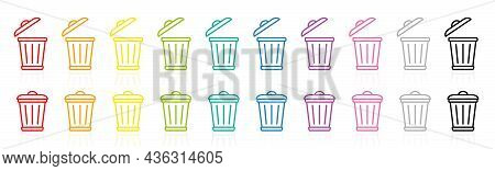 Trash Can Logo, Waste Bins, Colorful Garbage Can Symbols, Rainbow Colored Waste Container Pictogram,