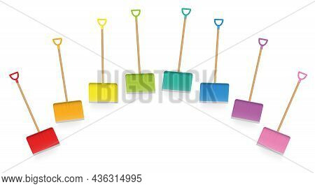 Colored Snow Shovels, Colorful Collection Of Snow Plowing Service Implements, Loosely Arranged Funny