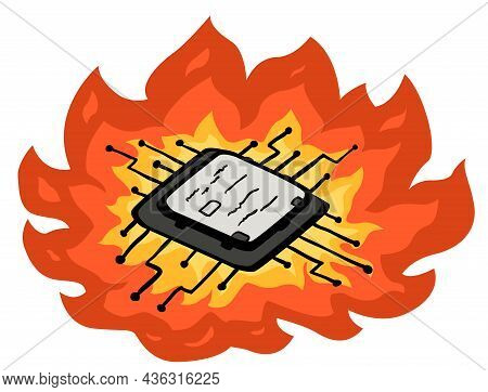 Computer Microchip Overheated Burning Cartoon Color Vector Illustration, Horizontal, Over White, Iso