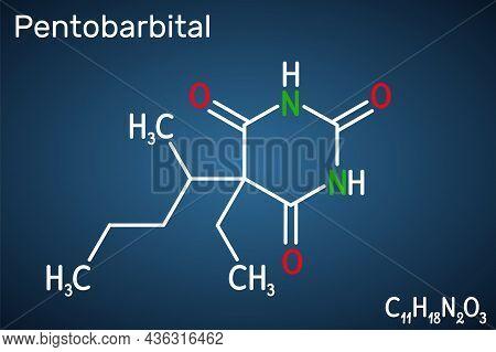 Pentobarbital, Pentobarbitone Molecule. It Is Sedative, Hypnotic Agent. Is Used For The Treatment Of