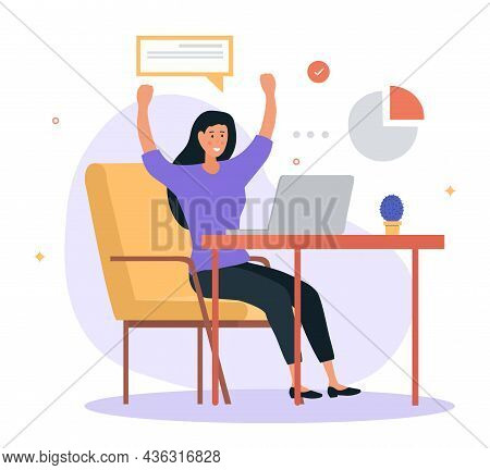 Completed Task Concept. A Woman Is Sitting At Her Laptop At Her Workplace And Rejoices At The Comple