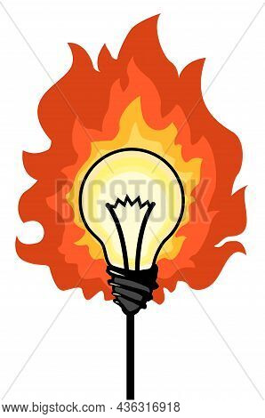 Light Bulb Fire Cartoon Color Vector Illustration, Horizontal, Over White, Isolated