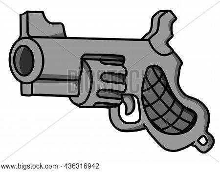 Revolver Gun Cartoon Color Vector Illustration, Horizontal, Over White, Isolated