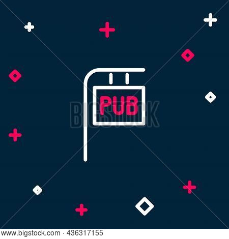 Line Street Signboard With Inscription Pub Icon Isolated On Blue Background. Suitable For Advertisem