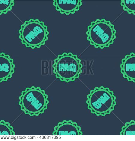 Line Label With Text Faq Information Icon Isolated Seamless Pattern On Blue Background. Circle Butto