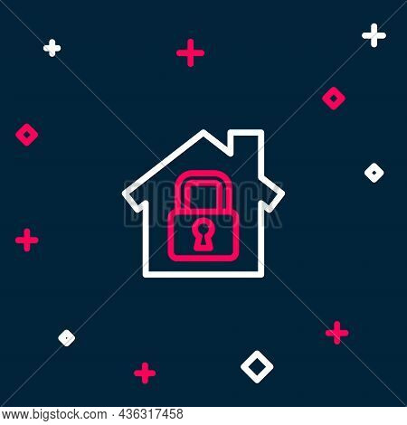 Line House Under Protection Icon Isolated On Blue Background. Home And Lock. Protection, Safety, Sec