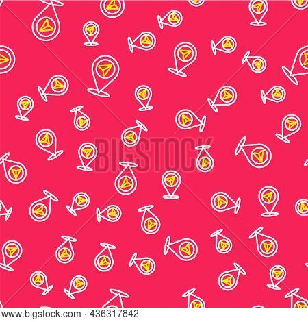Line Map Pin Icon Isolated Seamless Pattern On Red Background. Navigation, Pointer, Location, Map, G