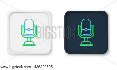 Line Microphone Icon Isolated On White Background. On Air Radio Mic Microphone. Speaker Sign. Colorf