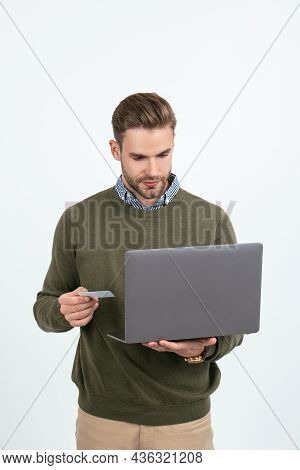 Man Businessman Hold Credit Card And Laptop For Paying Online Isolated On White, Online Shopping.