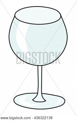 Gin Balloon Cocktail Glass. Stylish Hand-drawn Doodle Cartoon Style Gin Colored Vector Illustration.
