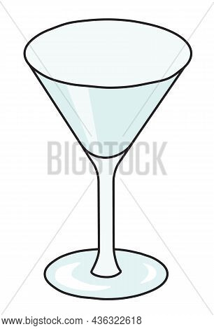 Classic Martini Cocktail Glass. Stylish Hand-drawn Doodle Cartoon Style Gin Colored Vector Illustrat