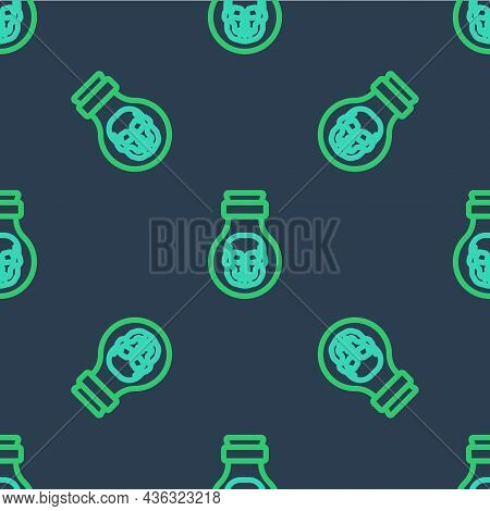 Line Poison In Bottle Icon Isolated Seamless Pattern On Blue Background. Bottle Of Poison Or Poisono