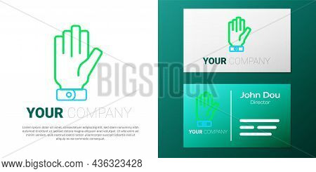 Line Firefighter Gloves Icon Isolated On White Background. Protect Gloves Icon. Colorful Outline Con