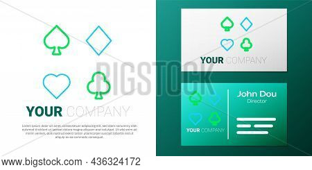 Line Deck Of Playing Cards Icon Isolated On White Background. Casino Gambling. Colorful Outline Conc