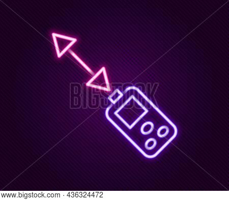 Glowing Neon Line Laser Distance Measurer Icon Isolated On Black Background. Laser Distance Meter Me