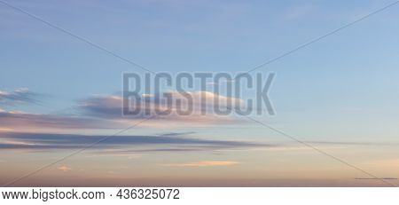 View Of Colorful Cloudscape During Vibrant Summer Sunset On The Ocean Coast. Taken In Vancouver, Bri