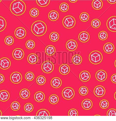 Line Carton Cardboard Box Icon Isolated Seamless Pattern On Red Background. Box, Package, Parcel Sig