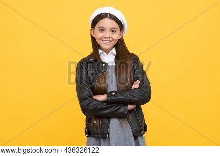 Confident School Age Girl Child Happy Smile Keeping Arms Crossed Yellow Background, Confidence