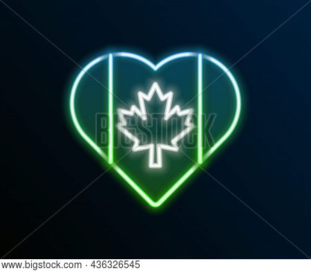 Glowing Neon Line Heart Shaped Canada Flag Icon Isolated On Black Background. Love Canada Symbol. Co