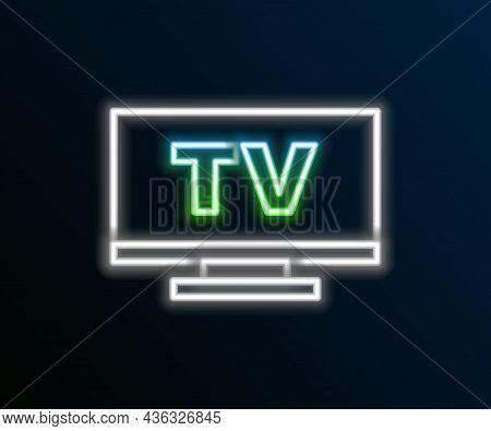 Glowing Neon Line Smart Tv Icon Isolated On Black Background. Television Sign. Colorful Outline Conc