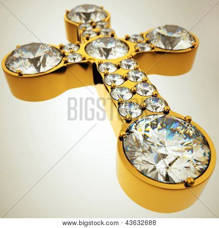 Wide Angle View Of Golden Cross With Diamonds