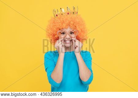 Pure Happiness. Fancy Party Look. Egocentric Kid In Clown Wig And Crown.