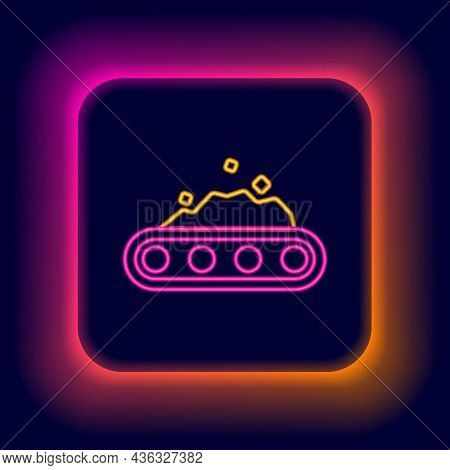 Glowing Neon Line Conveyor Belt Carrying Coal Icon Isolated On Black Background. Colorful Outline Co
