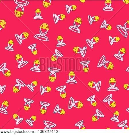 Line Miner In A Helmet Icon Isolated Seamless Pattern On Red Background. Vector