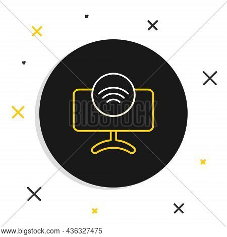 Line Smart Tv System Icon Isolated On White Background. Television Sign. Internet Of Things Concept