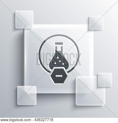 Grey Test Tube And Flask Chemical Laboratory Test Icon Isolated On Grey Background. Laboratory Glass