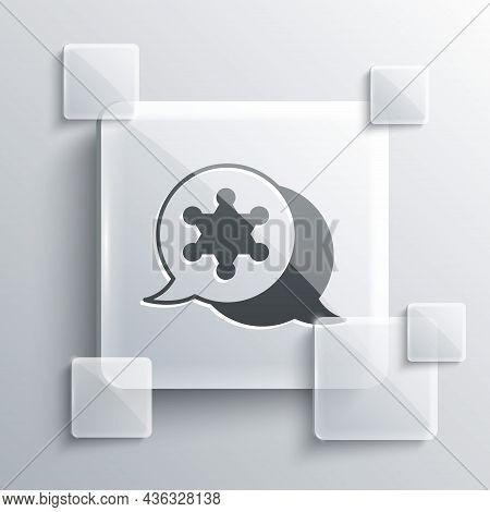 Grey Hexagram Sheriff Icon Isolated On Grey Background. Police Badge Icon. Square Glass Panels. Vect