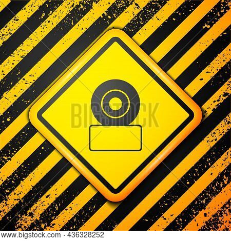 Black Skateboard Wheel Icon Isolated On Yellow Background. Skate Wheel. Warning Sign. Vector