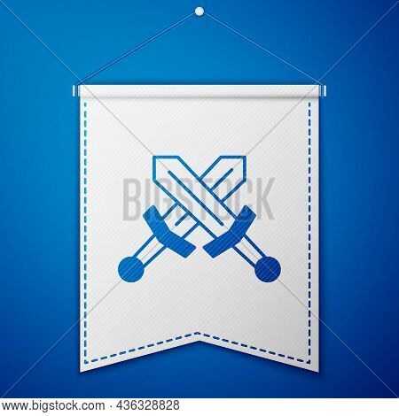 Blue Crossed Medieval Sword Icon Isolated On Blue Background. Medieval Weapon. White Pennant Templat