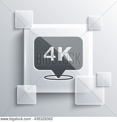 Grey 4k Ultra Hd Icon Isolated On Grey Background. Square Glass Panels. Vector