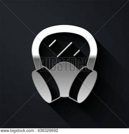Silver Gas Mask Icon Isolated On Black Background. Respirator Sign. Long Shadow Style. Vector