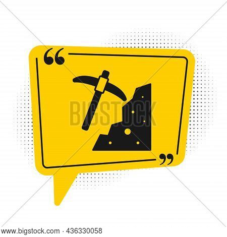 Black Pickaxe Icon Isolated On White Background. Yellow Speech Bubble Symbol. Vector