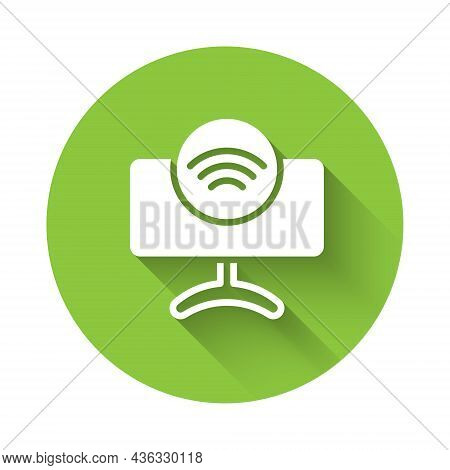 White Smart Tv System Icon Isolated With Long Shadow Background. Television Sign. Internet Of Things