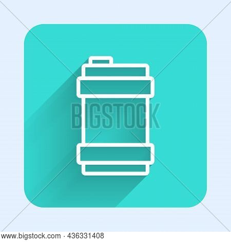 White Line Metal Beer Keg Icon Isolated With Long Shadow Background. Green Square Button. Vector