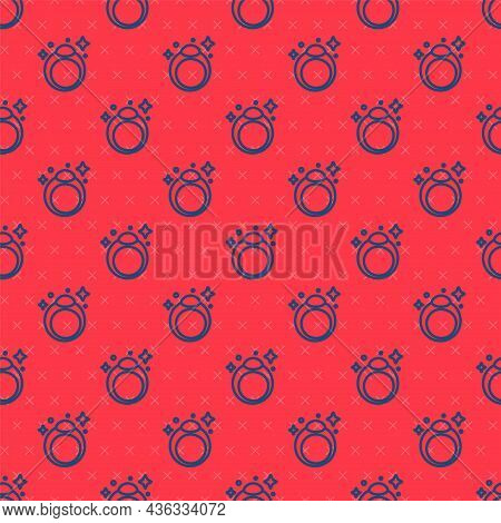 Blue Line Fantasy Magic Stone Ring With Gem Icon Isolated Seamless Pattern On Red Background. Vector